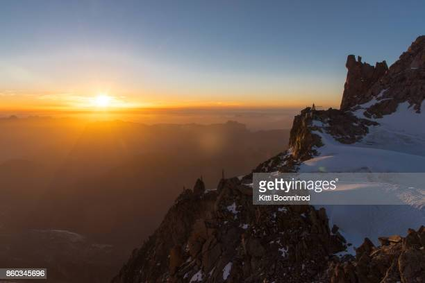 Sunsetting from Refuge des Cosmiques in Mont Blanc massif, France