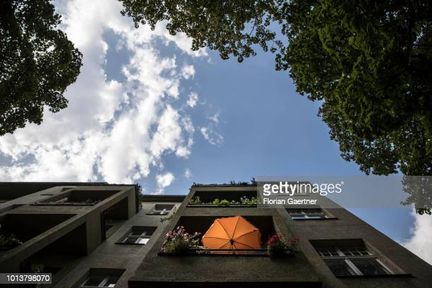 A sunshade on a balcony are pictured on August 08 2018 in Berlin Germany