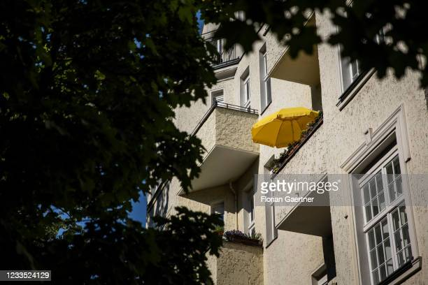Sunshade on a balcony is pictured on June 18, 2021 in Berlin, Germany.