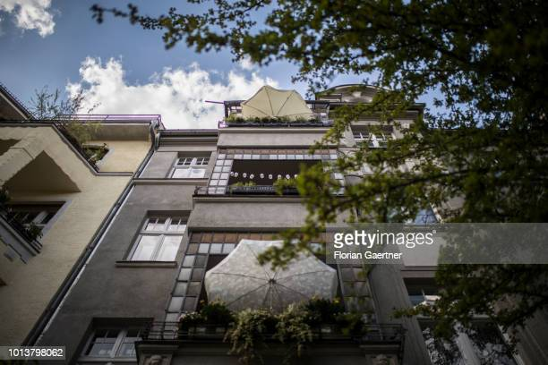 Sunshades on a balcony are pictured on August 08 2018 in Berlin Germany
