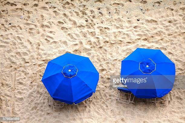Sunshades on the beach, aerial view
