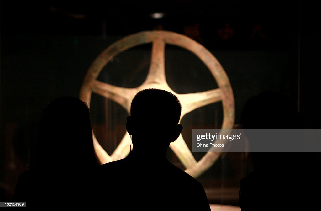 A sun-shaped bronze object is displayed at the Sanxingdui Museum on June 14, 2010 in Guanghan of Sichuan Province, China. Sanxingdui Museum is located in Northeast of Sanxingdu archeological site which believed to be the capital of ancient Shu, with more than 3,000-year history.