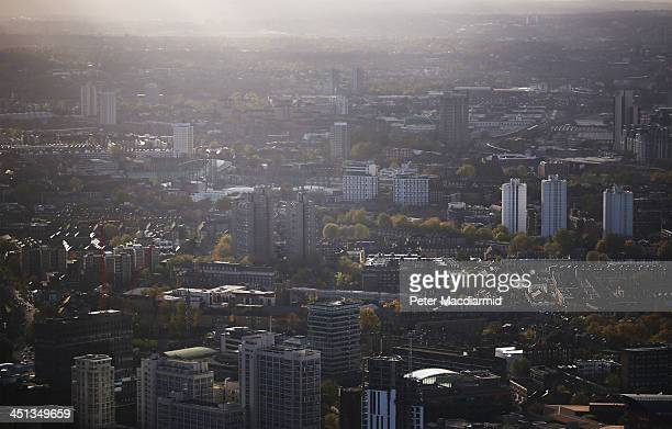 Sunshine breaks through a cloudy sky over the boroughs of Southwark and Lambeth on November 22 2013 in London England British police have reported...