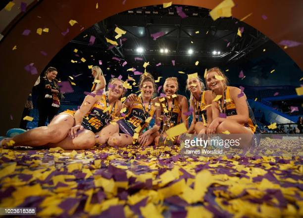 Sunshine Coast Lightning players celebrate after the Super Netball Grand Final match between the the Fever and the Lightning on August 26 2018 in...