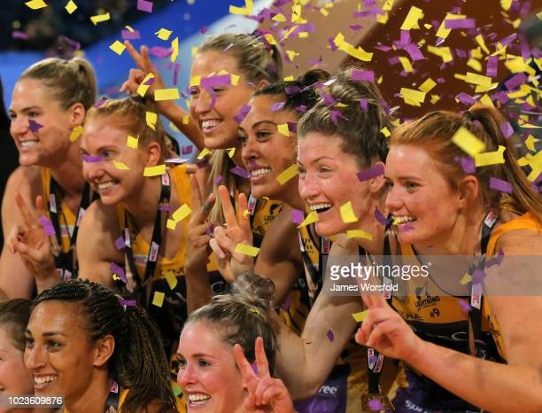Sunshine Coast Lightning players celebrating during the presentation during the Super Netball Grand Final match between the the Fever and the...