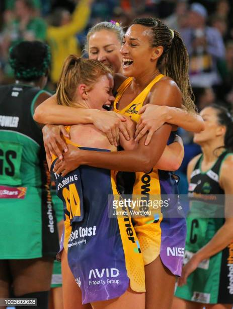 Sunshine Coast Lightning players celebrating their win of the Super Netball Grand Final match between the the Fever and the Lightning on August 26...