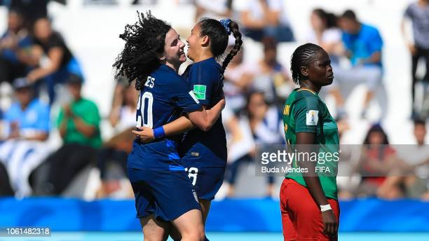 Sunshine Fontes and Sophia Jones of the United States celebrate a scored goal during the FIFA U17 Women's World Cup Uruguay 2018 group C match...