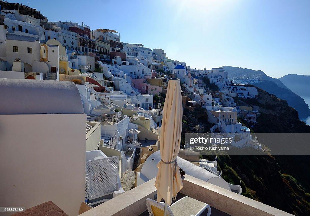 Sunshine in Oia Village in Santorini, Greece : Stock Photo