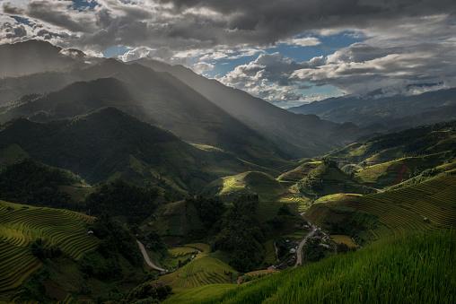 Sunshine on a mountain range in North Vietnam. - gettyimageskorea