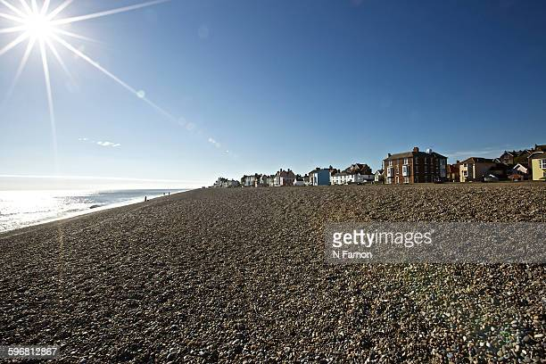 sunshine on the beach - aldeburgh stock photos and pictures