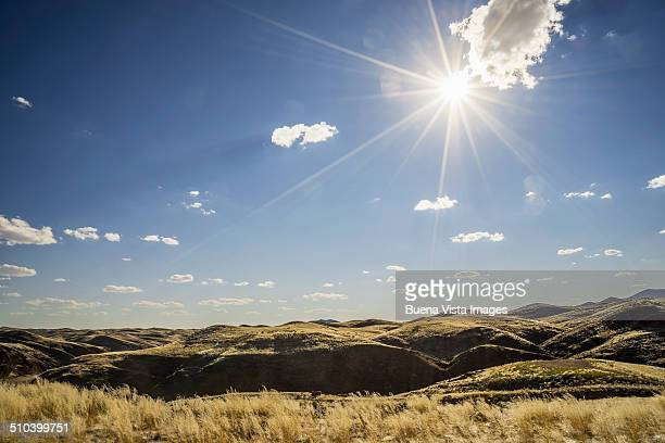 Sunshine over hills in Namib Desert