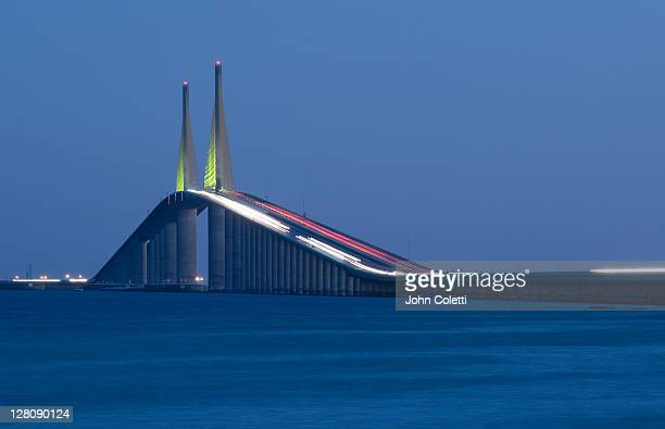 sunshine skyway bridge, tampa bay, saint petersburg, florida - sunshine skyway bridge stock photos and pictures