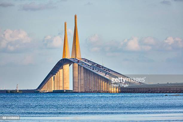 sunshine skyway bridge,tampa,florida - st. petersburg florida stock pictures, royalty-free photos & images