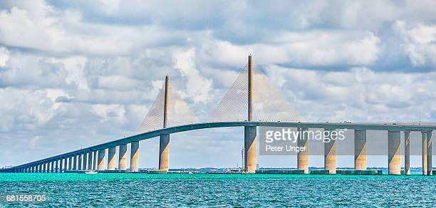 sunshine skyway bridge,tampa,florida - sunshine skyway bridge stock photos and pictures