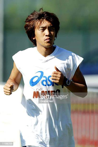 Sunshuke Nakamura of Reggina takes part in the first day of Reggina training in St Cristophe Italy on July 24 2002