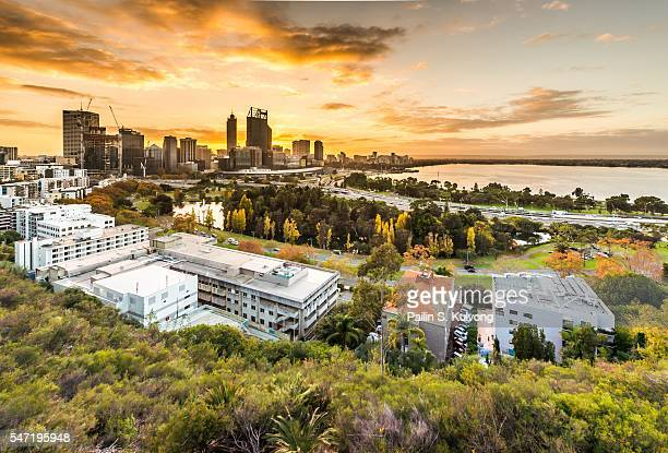 Sunsrise behide of CBD building at Perth