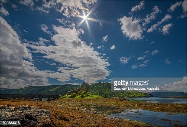 Sunstar over Eileen Donan Castle, highland of Scotland.