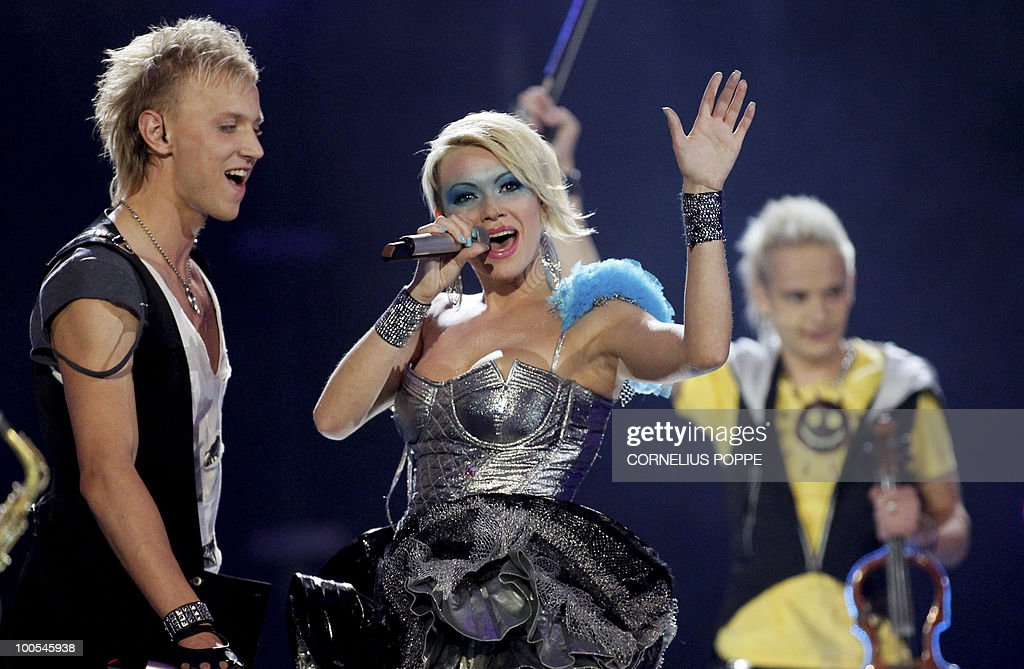 Sunstroke Project & Olia Tira from Moldova perform the song 'Run Away' during the semi-finals of the Eurovision Song Contest in Telenor Arena in Baerum, Norway, on May 25, 2010. The 55th Eurovision Song Contest finale will take place on May 29 in the Telenor Arena in Oslo, after Norwegian Alexander Rydbak took the top prize in Moscow last year with his song 'Fairytale'. AFP PHOTO/NORWAY/Cornelius Poppe ==NORWAY