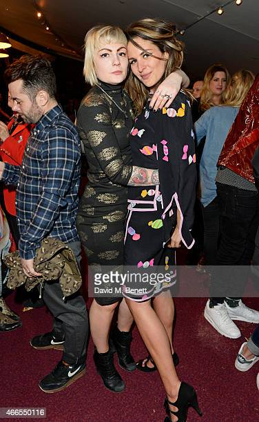 """Sunta Templeton and Lliana Bird attend a private view of """"He Wore Dreams Around Unkind Faces"""", an exhibition by Noel Fielding, at the Royal Albert..."""
