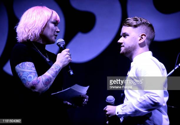 Sunta Templeton and Mikey North speak onstage during Raise The Roof The Mayor of Greater Manchester's Charity supporting A Bed Every Night a...