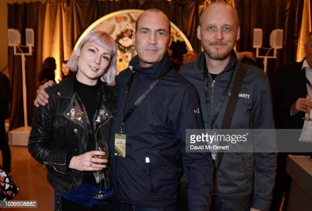 Sunta Templeton Johnny Vaughan and Gavin Woods attend the launch of Led Zeppelin by Led Zeppelin the official illustrated book marking the 50th...