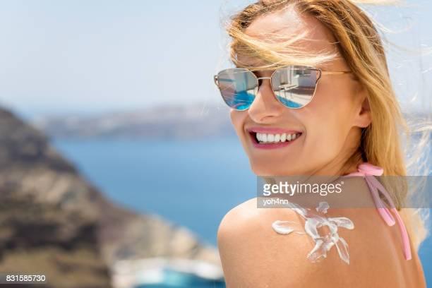 Suntan lotion & fun & healthy sunbathing