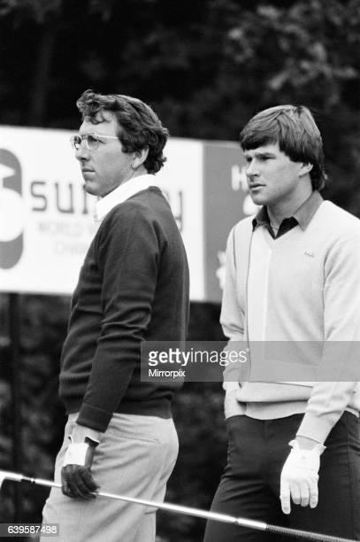SuntoryWorld Match Play Championship at Wentworth, Friday 7th October 1983. Hale Irwin & Nick Faldo.