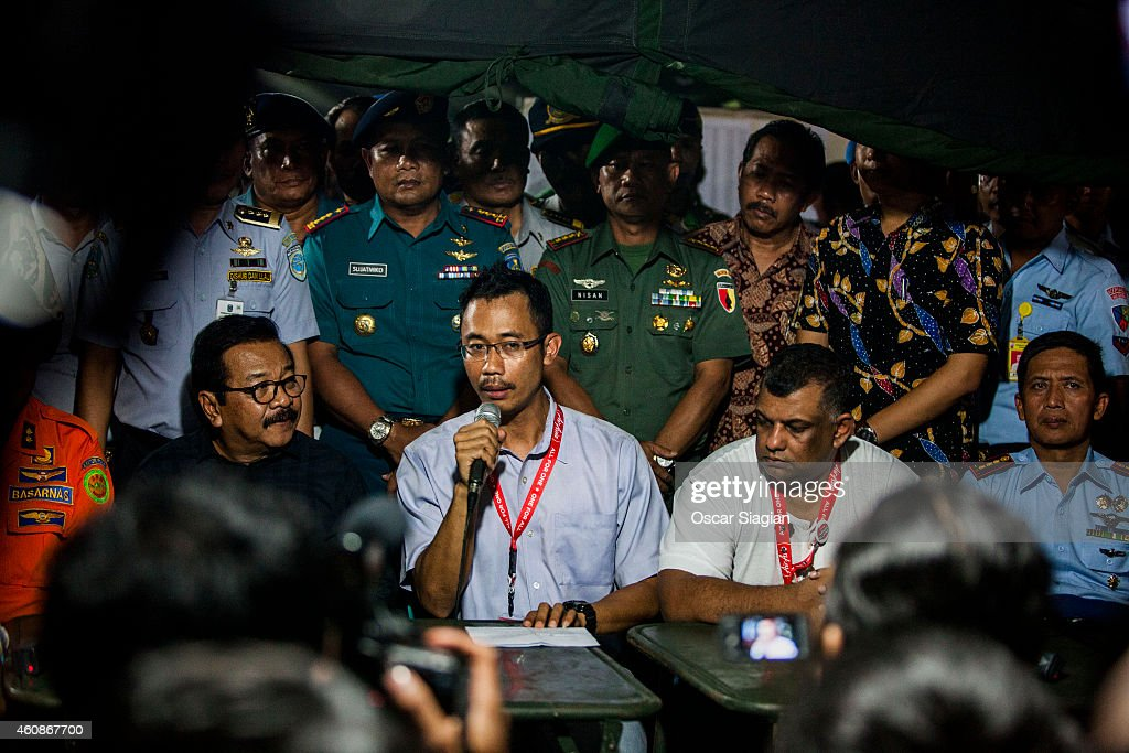 Sunu Widyatmoko CEO of Indonesia AirAsia give a press conferrence at Djuanda International airport on December 28, 2014 in Surabaya, Indonesia. AirAsia announced that flight QZ8501 from Surabaya to Singapore, with 162 people on board, lost contact with air traffic control at 07:24 a.m. Sunday local time.