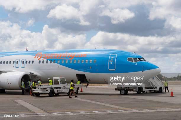 Sunwing plane in ramp or tarmac of the Abel Santamaria airport-Santa Clara,Cuba