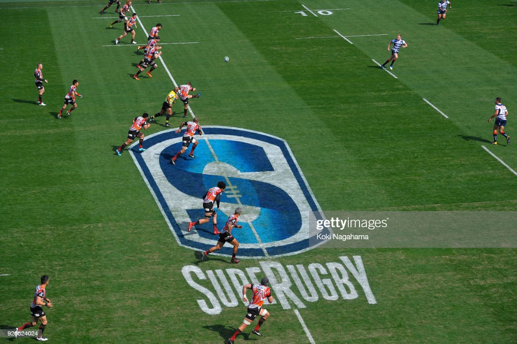 Sunwolves kick off during the Super Rugby round 3 match between Sunwolves and Rebels at the Prince Chichibu Memorial Ground on March 3, 2018 in Tokyo, Japan.