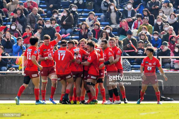 Sunwolves players celebrate their fifth try during the Super Rugby match between Sunwolves and Rebels at Level Five Stadium on February 1, 2020 in...