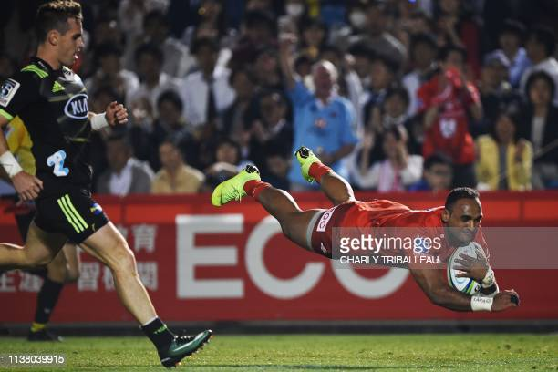 Sunwolves' Semisi Masirewa scores a try during the Super Rugby match between Japan's Sunwolves and New Zealand's Wellington Hurricanes at...