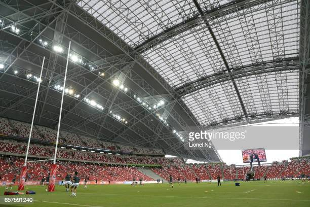 Sunwolves warm up on the pitch before the round five Super Rugby match between the Sunwolves and the Stormers at Singapore National Stadium on March...