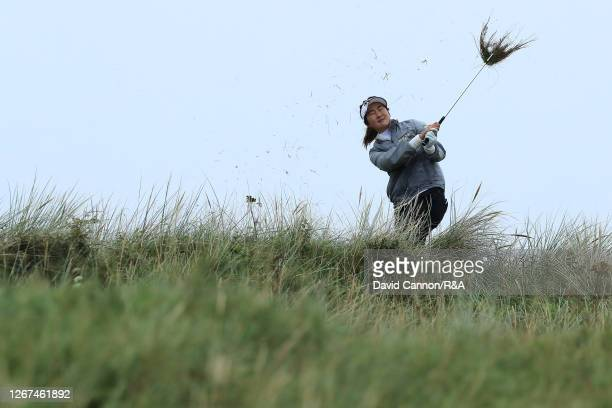 SuOh of Australia plays her second shot on the 6th hole during Day Two of the AIG Women's Open 2020 at Royal Troon on August 21, 2020 in Troon,...