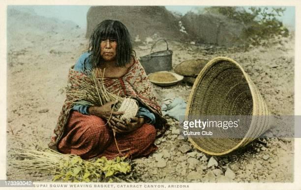 Supai woman weaving a basket Arizona The Havasupai community is based around the Grand Canyon in Arizona
