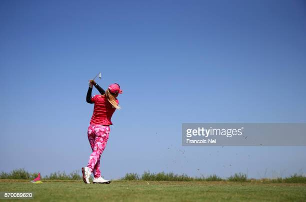 Supamas Sangchan of Thailand tees off on the 6th hole during Day Four of the Fatima Bint Mubarak Ladies Open at Saadiyat Beach Golf Club on November...