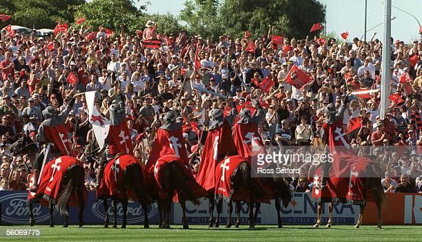 Super 12 Crusaders horsemen in front of the TrafalgarPark Nelson