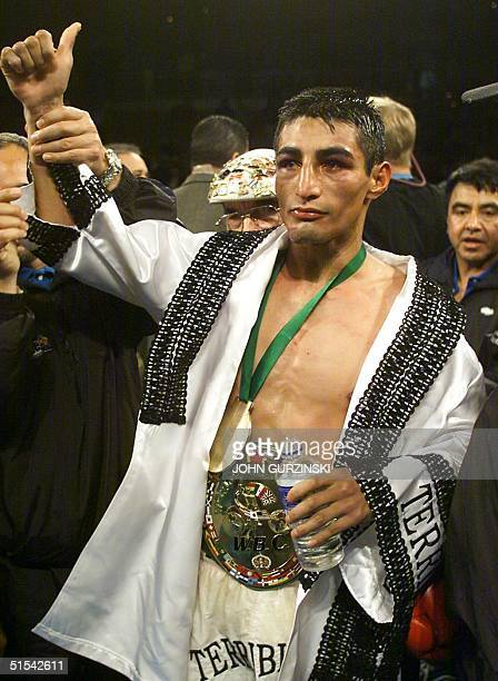 Super Bantamweight Champion Erik Morales of Tijuana Mexico poses following his victory over WBO Super Welterweight Champion Marco Antonio Barrera of...