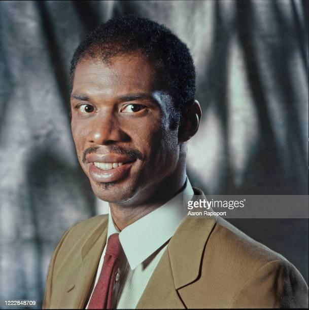 Super basketball star Kareem Abdul Jabar poses for a portrait in Los Angeles, California.
