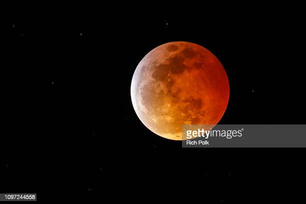 Super Blood Wolf Moon is seen during a total lunar eclipse on January 20 2019 in Marina Del Rey California Overnight in the northern hemisphere a...