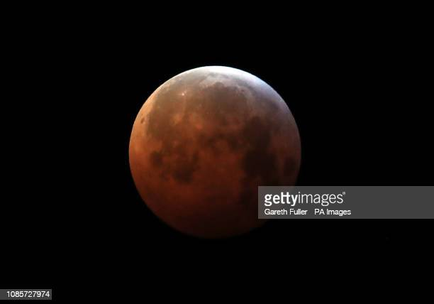 A super blood wolf moon over Ashford in Kent during a lunar eclipse