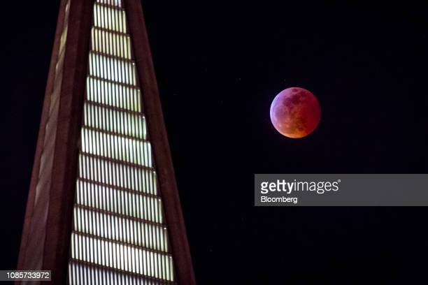 A super blood wolf moon rises behind the TransAmerica building in San Francisco California US on Sunday Jan 20 2019 Our first full moon of the year...