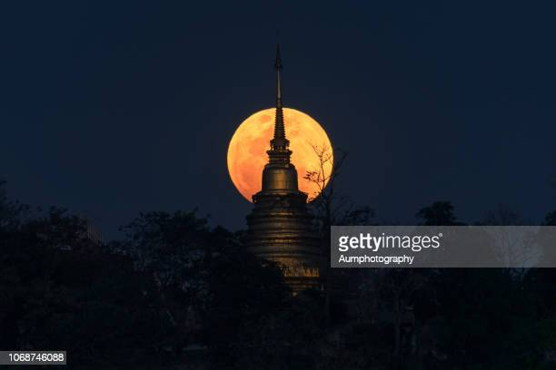 super blue blood blue moon behind the pagoda , thailand - stupa stock pictures, royalty-free photos & images