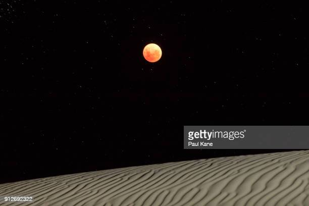 Super Blue Blood Moon is seen over the sand dunes on January 31 2018 in Lancelin Australia Last seen from Australia in December 1983 a Super Blue...