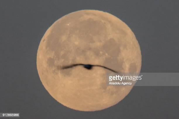 'Super blue blood moon' rises over Van province of Turkey on February 01 2018