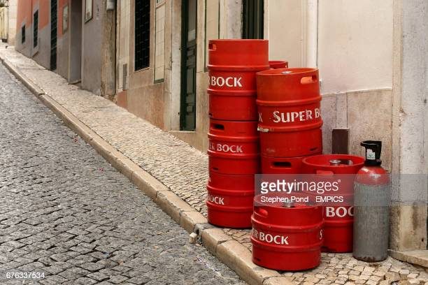 Super Bock beer barrells stand in the street in the Barrio Alto area of Lisbon