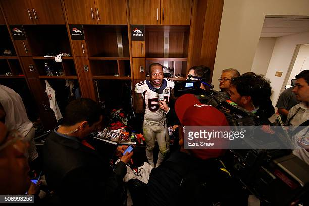 Super Bowl 50 MVP Von Miller of the Denver Broncos speaks to media in the locker room after defeating the Carolina Panthers during Super Bowl 50 at...