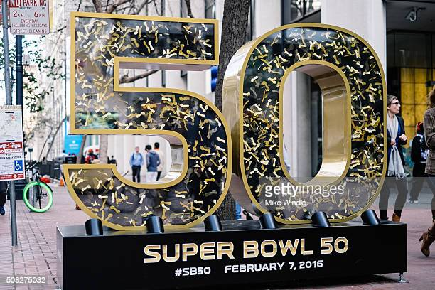 Super Bowl 50 sculpture is displayed on Market Street on February 3 2016 in San Francisco California