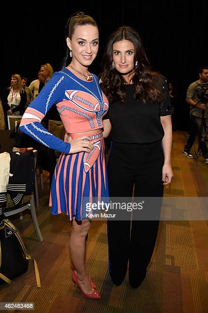 Super Bowl Halftime performer Katy Perry and National Anthem performer Idina Menzel attend the Pepsi Super Bowl XLIX Halftime Show Press Conference...