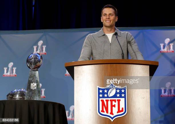 Super Bowl LI MVP Tom Brady talks with the media about their win over the Atlanta Falcons at the Super Bowl Winner and MVP press conference on...